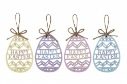 Set of 4 Happy Easter Fretwork Eggs
