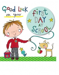 Rachel Ellen Boys Good Luck First Day School Card