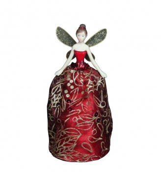 Gisela Graham Red And Gold Glitter Christmas Fairy