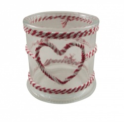 Gisela Graham Twine Heart Glass Candle Holder