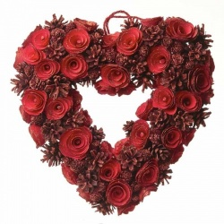 Heaven Sends Red Pinecone Rose Heart Wreath