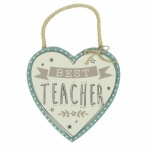 Best Teacher Hanging Heart Plaque