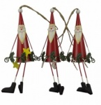 Gisela Graham Christmas Decorations - 3 Tin Santa's