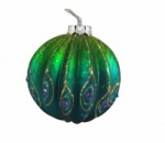 Gisela Graham Ribbed Peacock Glass Bauble