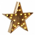 Heaven Sends Light Up Wooden Christmas Star Decoration