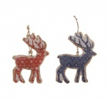 Sasse & Belle Set of 2 Metal Hanging Reindeers
