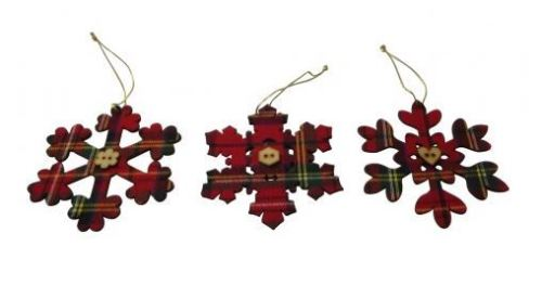 tartan snowflake hanging decoration