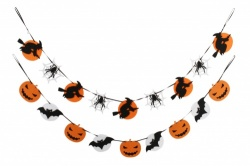 halloween pumpkin and bats hanging garland