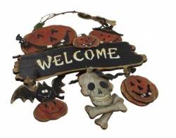 welcome halloween skull and pimpkin decoration