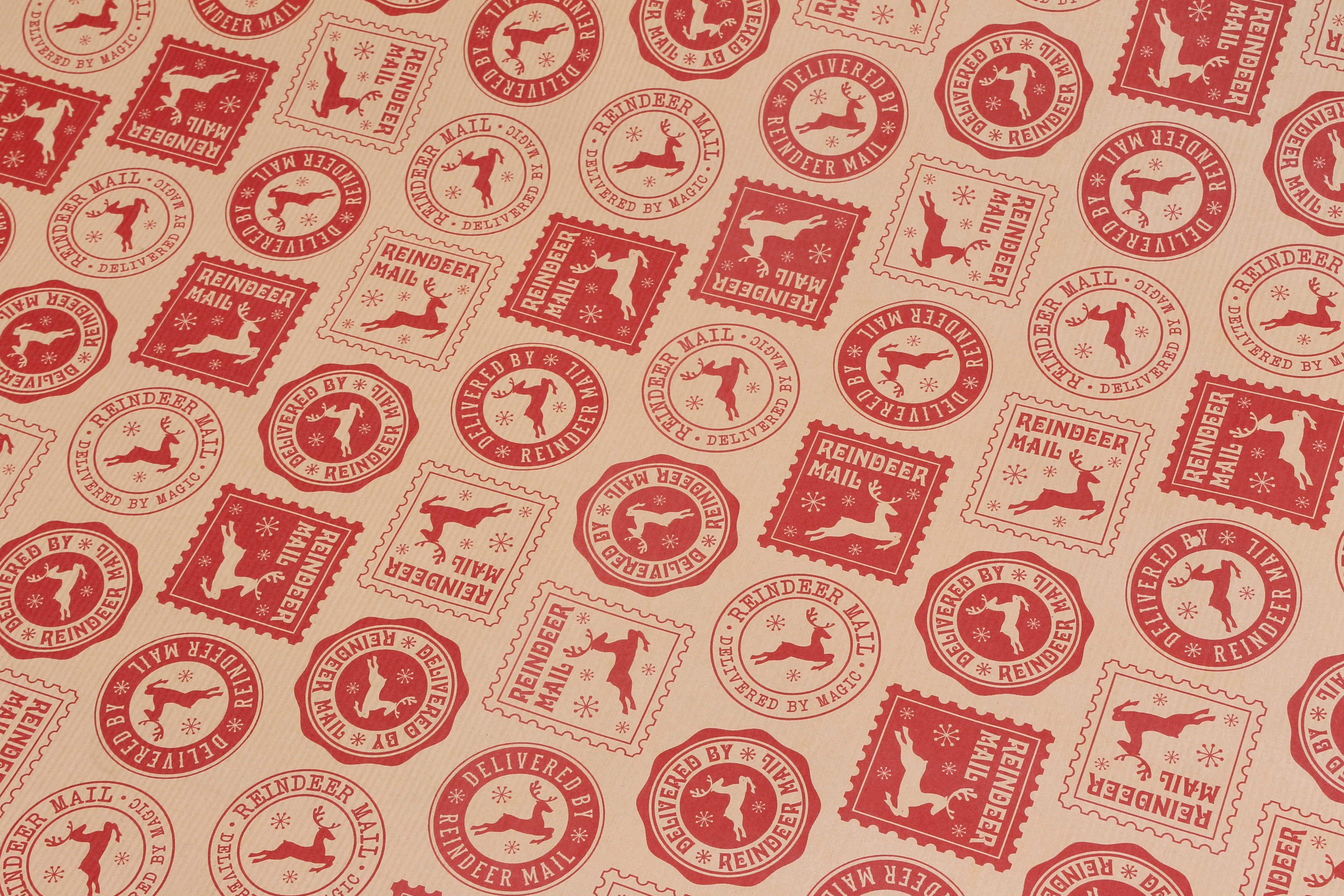 gorgeous christmas stamp patterned gift wrap