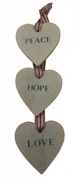 peace, hope, love the best hanging plaque