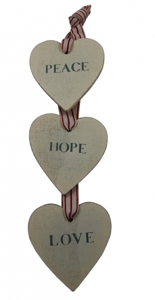peace, hope, love hanging heart plaque