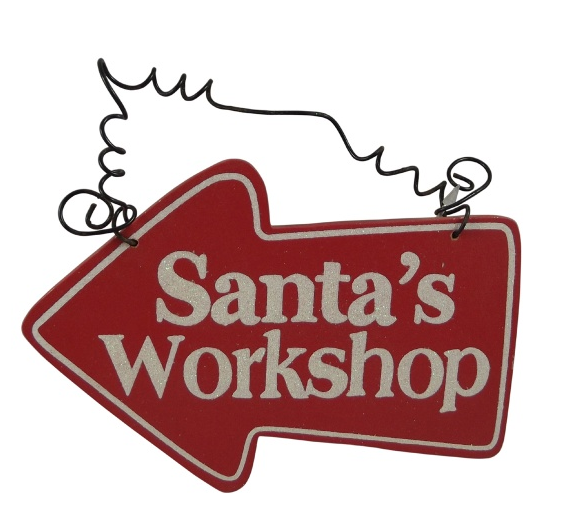 santas workshop red arrow sign for christmas
