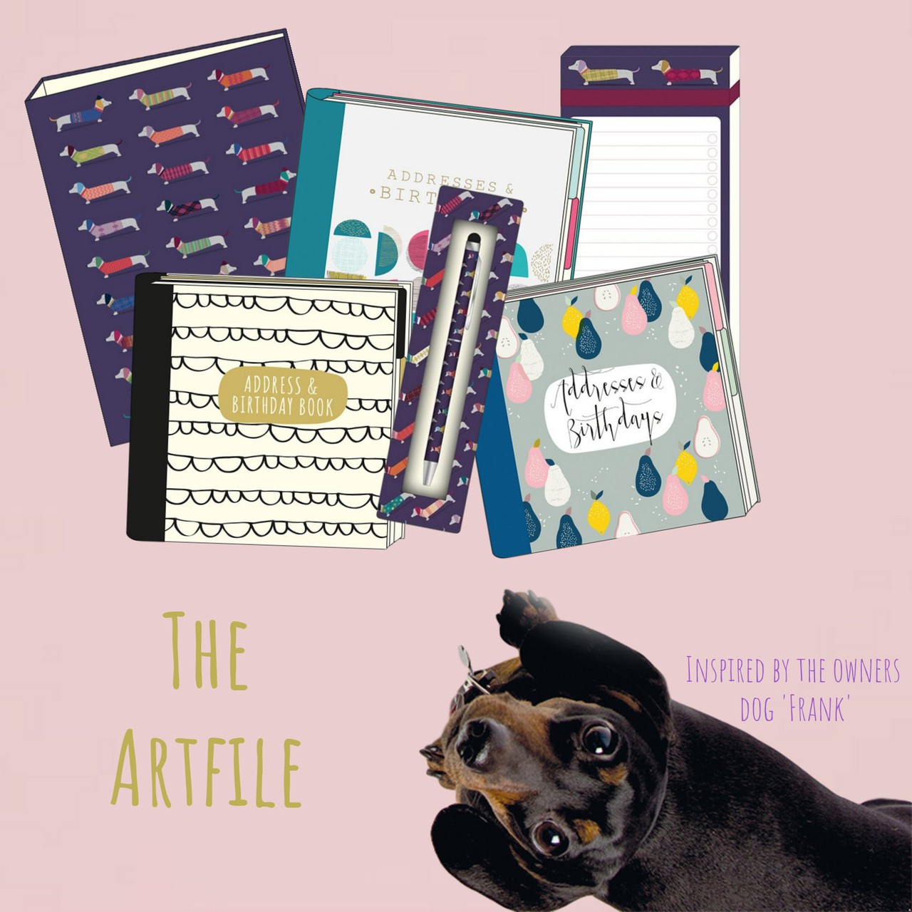 The artfile sausage dog stationery
