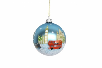 Gisela Graham Painted Glass London Christmas Bauble