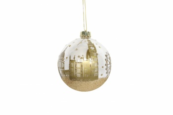 Gisela Graham Gold London Scene Glass Christmas Bauble