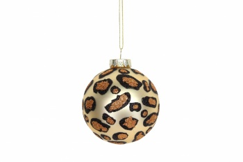 Gisela Graham Matt Gold Leopard Print Glass Bauble