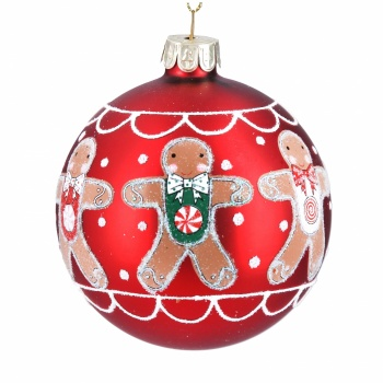 Gisela Graham Matt Red Gingerbread Men Glass Bauble