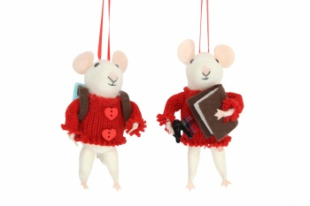 Gisela Graham Set of 2 White Mice in Red Jumper Decorations