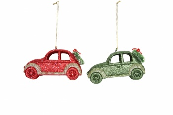Gisela Graham Red And Green Glittered Car Christmas Decorations