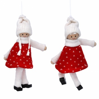 Gisela Graham Set of 2 Red/White Knitted Scandi Kids Decorations
