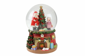 Gisela Graham Santa with Tree and Child Musical Snow Dome