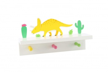 CGB Giftware Wooden Dinosaur Shelf with Pegs