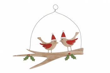 Christmas Robins On A Branch Festive Hanging Decoration