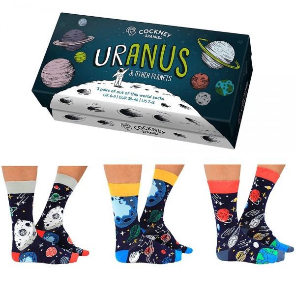 Cockney Spaniel 3 Pairs of Novelty Uranus Planet Socks - Boxed Set