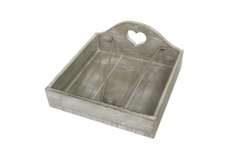 Gisela Graham Wooden Carved  Heart Napkin Holder