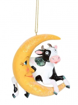 Gisela Graham Cow Jumps Over Moon Christmas Decoration