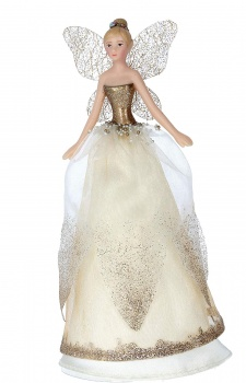 Gisela Graham Gold/Cream Christmas Fairy Tree Topper