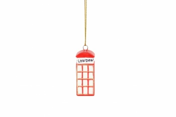 Gisela Graham Resin Telephone Box Christmas Decoration
