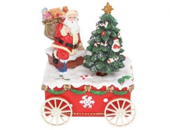 Gisela Graham Santa with Tree on Cart Music Box