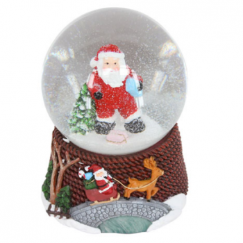 Gisela Graham Santa in Dungarees Musical Snow Dome