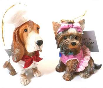 Gisela Graham Resin Chef and Ballerina Puppy Decoration