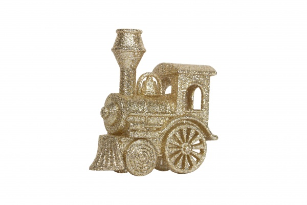 Gisela Graham Gold Glitter Acrylic Train Christmas Decoration