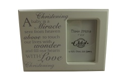 Modern Christening Day Babies Memory Photo Frame