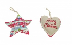 Gisela Graham Christmas Decoration - Fabric Heart and Star