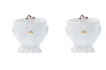 Gisela Graham Set of 2 White and Gold Easter Chick Egg Cups