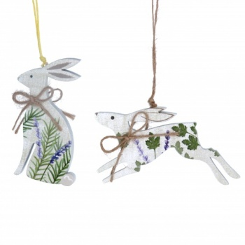 Gisela Graham 2 Piece Wooden Hare Easter Hanging Decorations