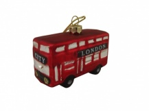 Gisela Graham Glass London Bus Christmas Decoration