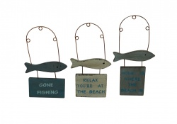 Gisela Graham Set of 3 Fish Plaques Nautical Decorations