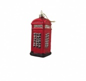 Gisela Graham Glass Telephone Box Christmas Decoration