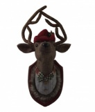 Gisela Graham Christmas Tweed Stag Head Wall Plaque