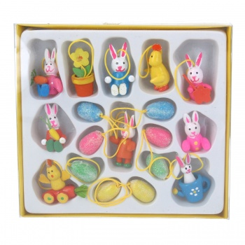 Gisela Graham Easter Decorations - 18 Mini Painted Eggs And Bunnies