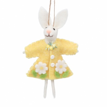 Gisela Graham Easter Wool Bunny In Yellow Dress Tree Decoration