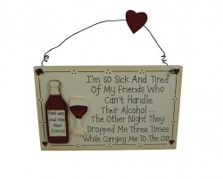 Friends and Wine Novelty Decorative Gift Plaque