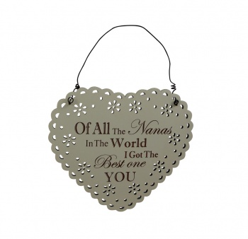 Best Nana In The World Lace Design Wooden Heart Plaque