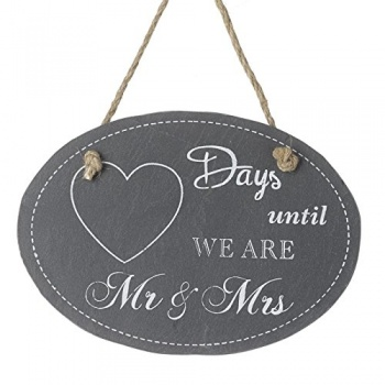 Heaven Sends Days Until We Are Mr & Mrs Slate Plaque